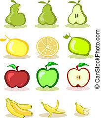 Set of vector fruits on white backg