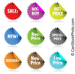 Set of vector stickers with promoti