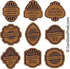 Set of vintage brown labels for design food and beverages