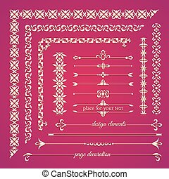 Set of vintage calligraphic design elements