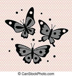 Set of vintage lace butterflies for design.