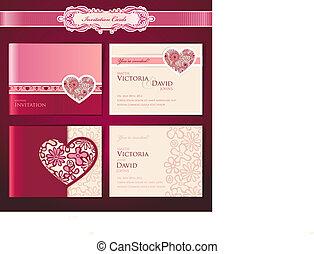 Set of wedding invitation cards