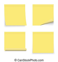 Set of yellow stickers papers. Note paper with curled corner.