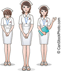 Set of young cute nurse welcoming
