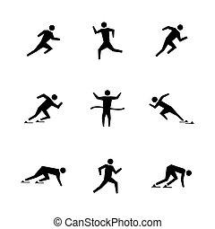 Set stick figures of runners, vector illustration.