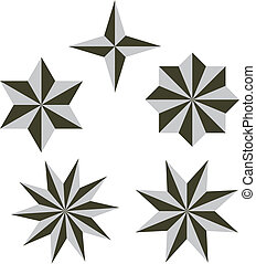 Set Vector 3d star illustration