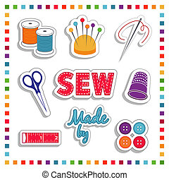 Sewing Stickers, for DIY tailoring, dressmaking, needlework, crafts: needle, thread, scissors, pin cushion, label, thimble, buttons, tape measure. Rainbow frame. Isolated on white. EPS8 compatible.