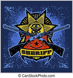 Sheriff Badge design with a ribbon, star and crossed winchesters