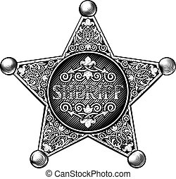 Sheriff badge in a vintage etched engraved style