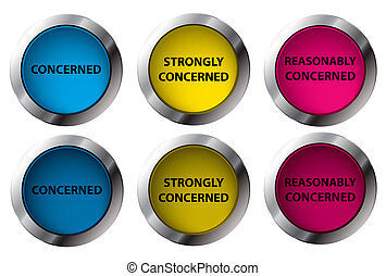 Shiny Concerned buttons On/Off, vector illustration