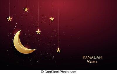 Shiny golden crescent and shiny stars