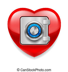 Glossy red heart with safe door. Love or life in safe