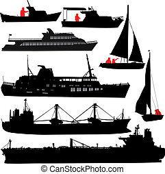 Set of vector silhouettes of ships and yachts