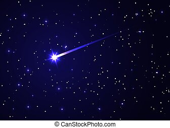 shooting star background against dark blue starry night sky, brightest star in the Sky vector illustration, Conjunction of Comet and Galaxy