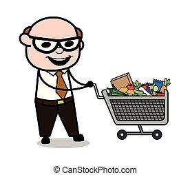Shopping - Retro Cartoon Father Old Boss Vector Illustration