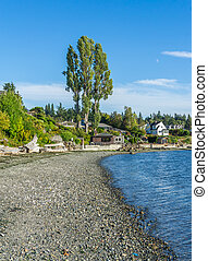 A view of the shoreline in Normandy Park, Washington.