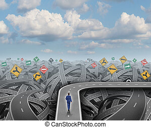 Shortcut direction concept and business detour decision symbol as a businessman walking on a road that avoids chaos confusion and a crisis as an icon for changing course and financial planning or strategy.
