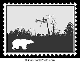 silhouette bear on postage stamps, vector illustration