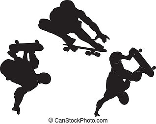silhouette collection of skateboarding vector