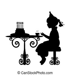 Silhouette girl drink tea with cake birthday. Vector illustration