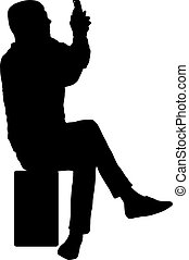 Silhouette man sitting on a chair white background