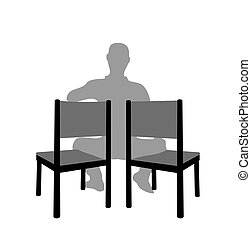 Silhouette man sitting two chair