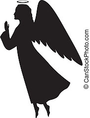Silhouette of a Christmas angel in profile with her hands folded in prayer