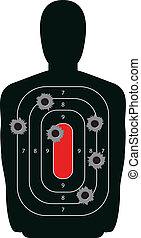 Indoor shooting range silhouette paper target shot full of bullet holes.