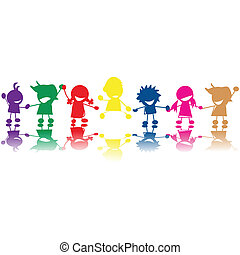 Silhouettes of children in colors and races holding hands