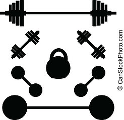 silhouettes of weights