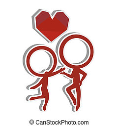 silhouettes stick figure couple with love