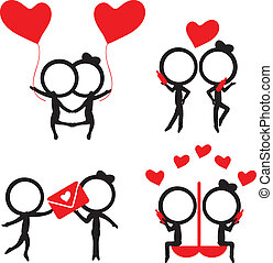 silhouettes stick figure couple with red love items