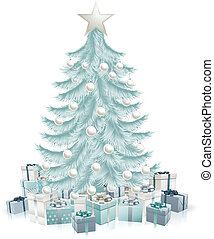 Silver blue Christmas tree and gifts