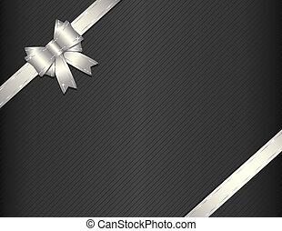 Silver ribbon on gift paper vector illustration