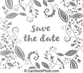 Silver greeting or save the date card