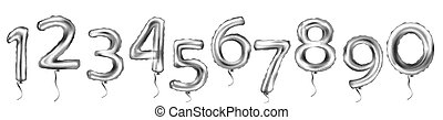 Silver Number Balloons. Vector illustration