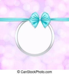 silver round frame with blue ribbon bow decoration. vector illustration