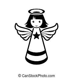 Simple black vector christmas angel icon