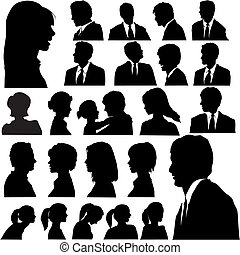 A set of men & women faces as head and shoulder profile silhouettes.