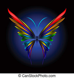 Vector illustration of icon simply butterfly on black background