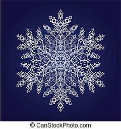 Single detailed snowflake on dark blue background