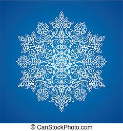 Single white large detailed snowflake on gradient background