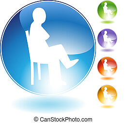Sitting Concept Crystal Icon