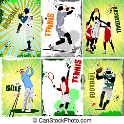 Six sport posters. Football, baseb