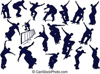 Skateboard boys vector illustration. One click color change