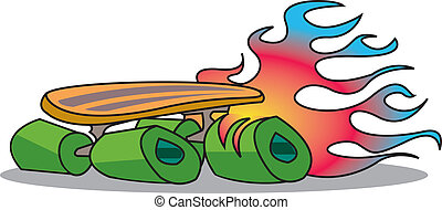 Retro or vintage skateboard with flames shooting out the back in 1960s or 1970s comic book cartoon style.