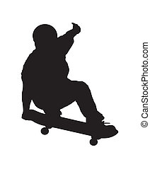 An abstract vector illustration of a skateboarder during a grab.