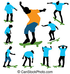 A set of color skater?s silhouettes. Vector illustration.