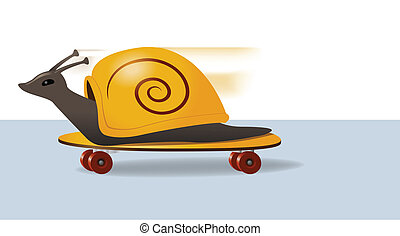 Illustration of a snail zooming along on a skateboard
