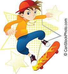 Skateboarder Boy in action.
